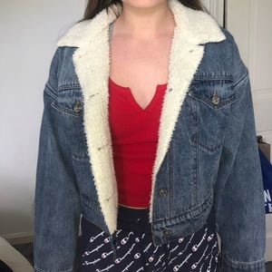NEW fuzzy denim jacket